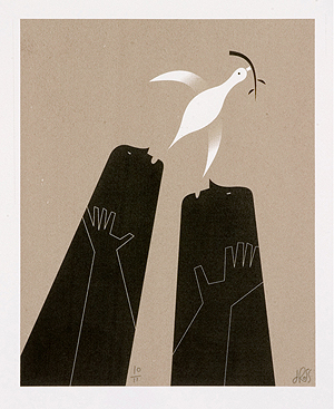 silkscreen print by doug ross titled peace #4