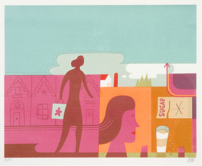 silkscreen print by doug ross titiled sugar, contains pink and orange