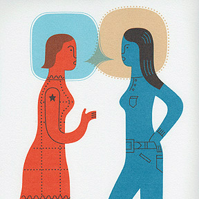 two women talking silkscreen print by doug ross