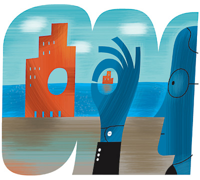 illustration by doug ross for harvard business review of businessman approving of offshore outsourcing a portion of his corporation