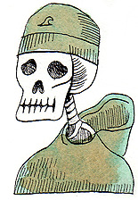 fine art pen and ink by doug ross for dia de los muertos or day of the dead showing skeleton surf dude