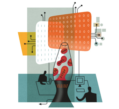lava lamp with acronyms shows confusion of data security professionals illustration by doug ross